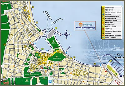 hotels and kos >> Map of the area with the location of International Hotel